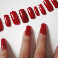 red glitter nail art false nails halloween christmas new year's eve blood artificial fake square witch sexy fashion 2015 lasoffittadiste