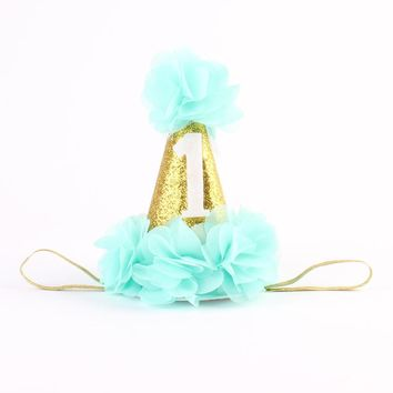 First Birthday Crown Headband for Girl Hair Accessories cake smash hat gold birthday hat with chiffon flower 1PC