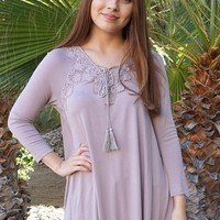 Anything Is Possible Brown Lace Long Sleeve Tunic Top