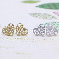 Heart earrings with sterling silver post, silver or gold tone