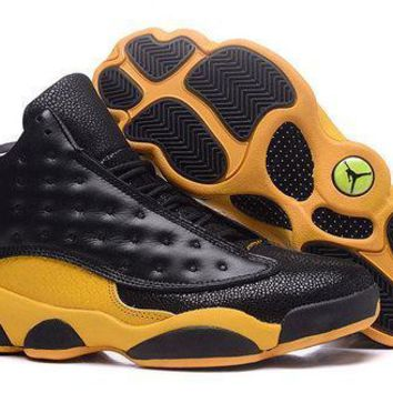 Air Jordan 13 Retro Black Yellow Sneakers Men Top Quality JD 13 Basketball Shoes For S