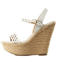 White Braided Laser-Cut Platform Wedge Sandals by Charlotte Russe
