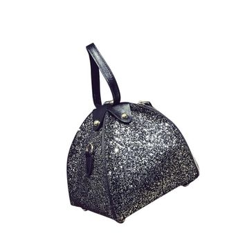 Geometric Multi-Color Sparkling Sequins Bucket Handbag