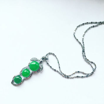 Peas in a Pod Jade Pendant / Necklace / Friendship / Gemstone Family Necklace / gift Pendant / valentines / womens / Energy Stones /