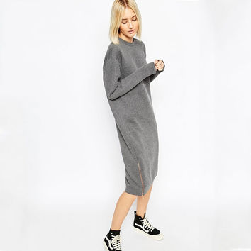 Gray Long Sleeve Side Zippered Sweater