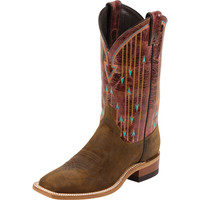 Women's Justin Brown Waxy Cowhide Red Glossy Cowgirl Boots
