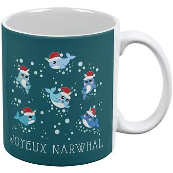 Christmas Joyeux Narwhal Noel All Over Coffee Mug