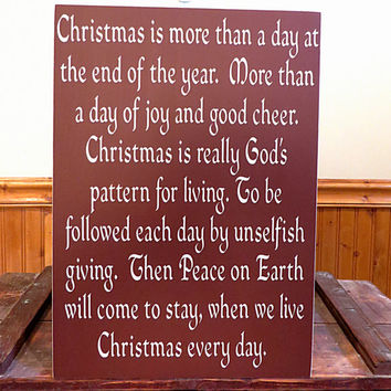 Christmas wood sign - Christmas is more than a day at the end of the year - wall hanging sign - distressed sign