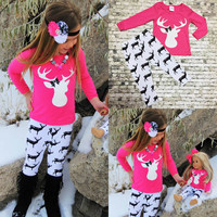 2PCS Girls Baby Kids Clothing Set Fashion Top T Shirt Long Sleeve Leggings Pants Trousers Girl Outfits Clothes