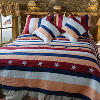 DaDa Bedding Patriotic  Single Size Quilt Set