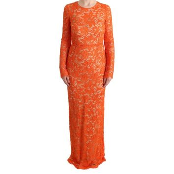 Dolce & Gabbana Orange Floral Ricamo Sheath Long Dress