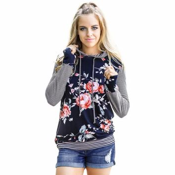 Women Floral Striped Long Sleeve Shirt Loose Blouse Tops Hoodie Sweatshirt Stripe Flower Printed Hoodie #GH40