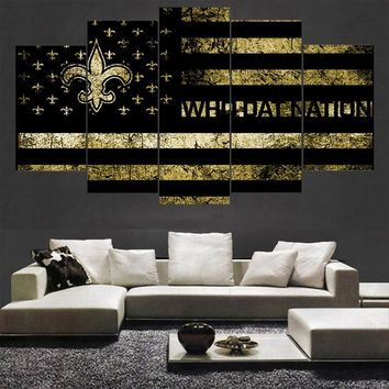 Gold Sport New Orleans Saints Poster Canvas Paintings Wall Art Oil Painting On Canvas For Living Room Painting Calligraphy