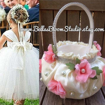 Flower Girl Basket CUSTOM flower girl basket blush ivory wedding flower girl keepsake basket,unique flower girl basket,flower girl gift etsy