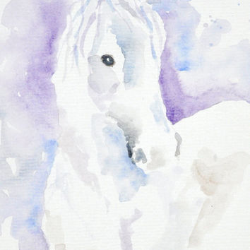 25% OFF SALE  Till Sunday Watercolor Horse Painting – Original Watercolor Art, Unmounted, Nursery, Wall Decor,  Home Decor, Animal Paintings