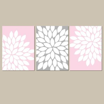 Flower Wall Art, Pink Gray Bedroom Pictures, Pink Gray Nursery CANVAS or Prints, Bathroom Decor, Flower Artwork, Set of 3 Artwork Wall Decor