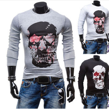 Men Long Sleeve Cotton Round-neck Slim Skull T-shirts [10352114627]