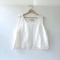 90s natural cream white tank top. Oversized cropped tank with lace detailing