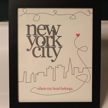 My Heart Belongs in NYC Wall Decor by InspiringTypography