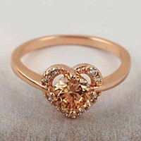 9k Rose Gold Champagne Gemstone Heart Ring from GemEnvy
