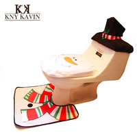 Christmas Snowman Toilet Cover Santa Claus Toilet 3pcs/Set Include Toilet Tank Lid Cover + Pads + Towel Sets For Christmas HF026