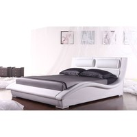 King size Modern White Faux Leather Platform Bed with Headboard
