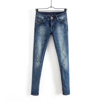 Korean Summer Women's Fashion Ripped Holes Pen Denim Pants Skinny Pants [4920286532]