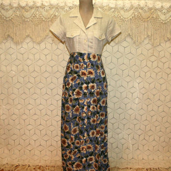 b52d4f0c Floral Grunge Maxi Dresses 90s 1990s Casual Long Dress Linen Rayon Button  Up Short Sleeve Fredericks