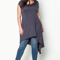 PLUS SIZE CHARCOAL HIGH LOW POCKET JERSEY DRESS