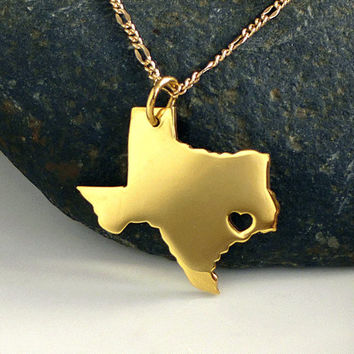 Texas Necklace - 18K Gold Plated Necklace - Gold State Necklace - State Charm - I heart Texas - I love Texas