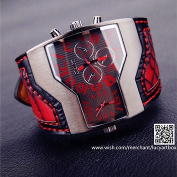 Fashion men's watch new Oulm military watches double movement watch red Leather watch [9325204100]