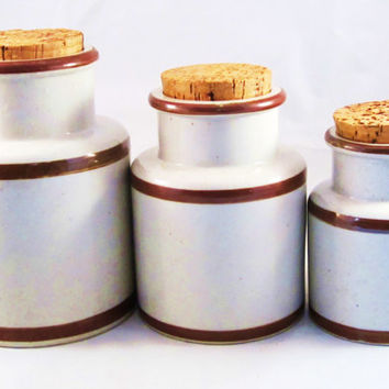 SALE Vintage Stoneware Canisters Crock with Cork Set of 3