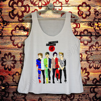 5 SOS 5 Seconds Of Summer Tank top Women White Style T-shirt Women music band song tank tops Women Tunic Singlet Vest #W146 Size S,M,L,XL