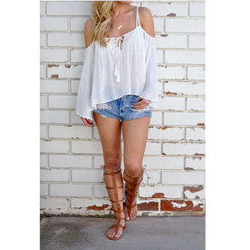 Hot Popular 2016 Trending Fashion Women Loose Sexy Spagehetti Strap Solid Top