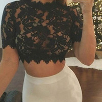 Cutout Lace Crochet Crop Top
