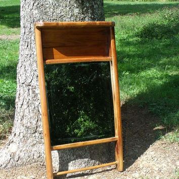 Wall Shelf, Country Mirror for kitchen or bath, Washboard made into a Mirror, Old, Early 1900's, E. Murdock & Co, Colonial # 0500 OAK