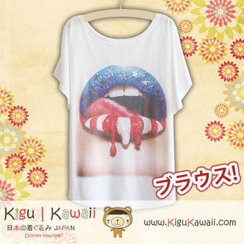New American Lips Fashionable Loose and High Quality Spring and Summer Tshirt Free Size KK443