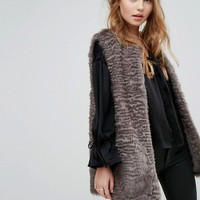 New Look Faux Fur Ruffle Vest at asos.com