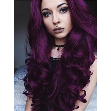 Long Dark Reddish Purple Big Wave Synthetic Lace Front Wig