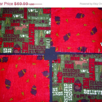 """Christmas flannel rag quilt kit Deer Mose Bear fringed die cut  fabric squares and batting complete ready to sew 45.5""""x58.5"""