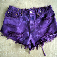 Cut Off  Levis Jeans Ombre Deep Purple Worn Torn Distressed Destroyed 32 waist