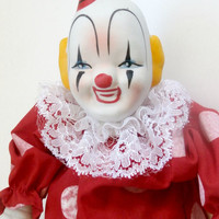vintage red and white clown doll in excellent condition retro antique porcelain clown