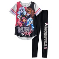 Monster High ''M H High'' Glitter Skull Pajama Set - Girls, Size: