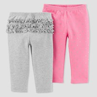 Baby Girls' 2pk Pants - Just One You™ Made by Carter's® Gray/Pink Glitter