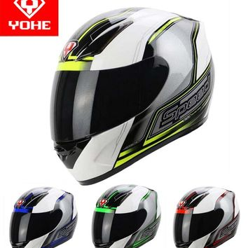 2016 New YOHE full face Motorcycle Helmet High Quality ABS Moto Racing Helmet YH-991 SPEED RSC white red/blue/yellow/green color