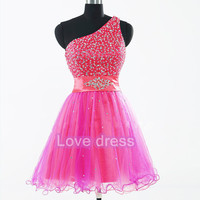 Pretty Asymmetrical One-shoulder Applique Tulle Prom Homecoming Dresses