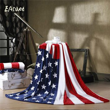 150*200cm USA UK Multifunction Blanket Sofa Cover Single Bedsheet Throws British American Flag Plaid flannel fleece