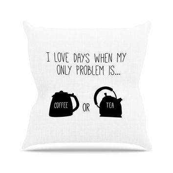 """Busy Bree """"Coffee Or Tea"""" Black Typography Throw Pillow"""