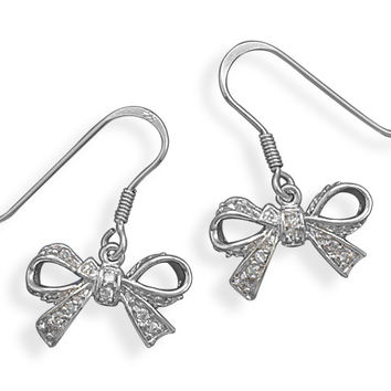 Rhodium Plated Cubic Zirconia Bow Earrings