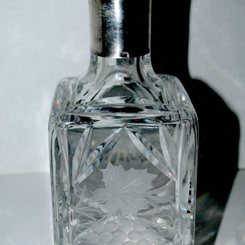 crystal decanter with silver  neck band 995 silver stamped  etched grapevine palm cuts liquor decanter